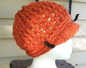 Pumpkin Orange Crocheted ribbed newsboy hat with thick band