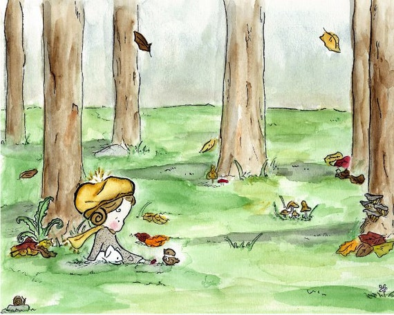 Children's Art -- Golden Afternoon -- Art Print
