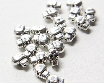 20pcs Oxidized Silver Tone Base Metal Spacers-Skull 10x7mm (1795Y-E-323)