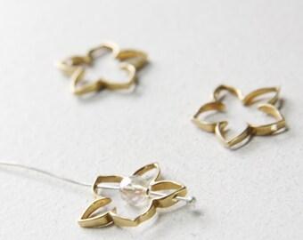 2 pcs of  Non-Tarnishing Bronze Bead Frame - Flower  20mm