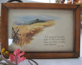 Vintage Harvest Themed Postcard in Oak Frame