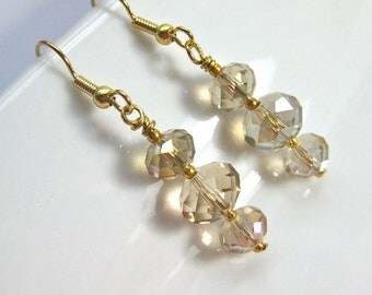 Champagne Crystal Earrings on Gold Earwires, Triple Crystals on gold earrings
