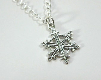 Sterling  Silver Necklace with Sterling Snowflake Pendant.  Silver snowflake necklace,