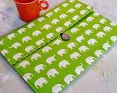 """Macbook Case, 15"""" Macbook Case, Laptop Case, Macbook Sleeve, 15"""" Laptop Sleeve in Green Elephants"""