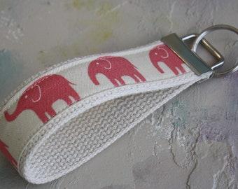 Fabric Wrist Key Chain / Key Fob / Fabric Keychain / Pink Elephant Walk