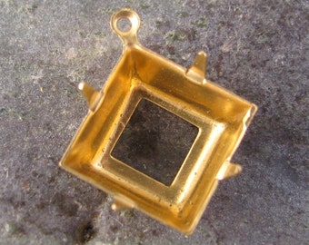 Square Pronged Settings 12mm Raw Brass 1 Rings Charms 1434 - 12 Pcs