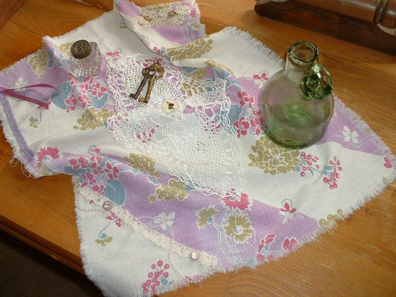 """Handmade Vintage """"My Flat in Paris"""" Table Cloth, Runner, Cottage Chic, Linens, French Country,"""