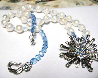 vintage pin ... Star Burst ... fresh water pearls, a sparkling Splash ... #166