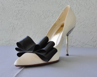 Black Satin Ribbon Bow Shoe Clips Set Of Two, More Colors Available