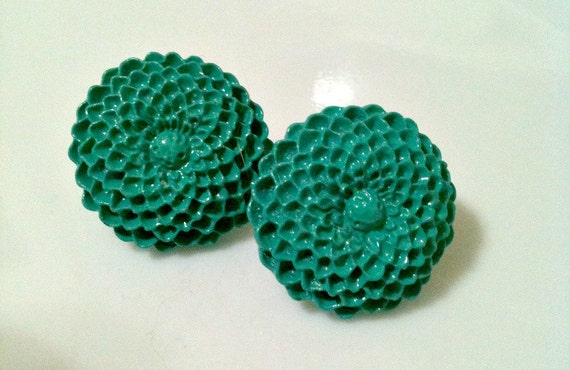 teal mums - post earrings
