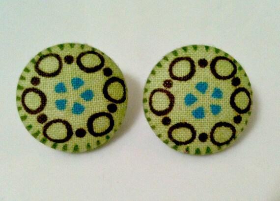 rain forest - fabric button earrings