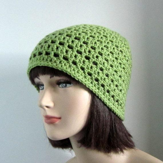 Light Green Beanie - Womens Crochet Hat - Lightweight Mesh Cap - Spring Fashion Accessories