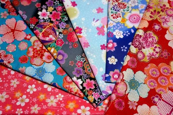 Japanese Fabric Kimono Fabric Scrap 6 Pieces VC19