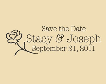A Single Rose Save The Date Stacy & Joseph Custom Rubber Stamp Design WR006