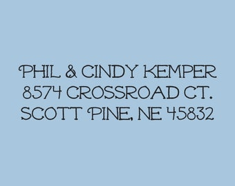Custom Address Self Inking Stamp Phil and Cindy Kemper Design 200-032