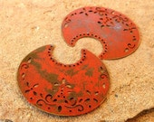 Tribal pendant, jewelry pendant , large crescent moon PUMPKIN orange patina focal jewelry finding 2 pcs