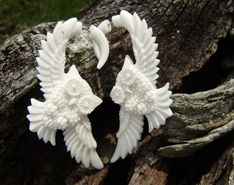 Fake gauge Earrings, Owl  White Bone , Fancy Craved , Cheater,tribal style.hand carved organic