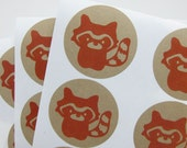 Orange Raccoon Kraft Stickers, 24 envelope seals STKK007
