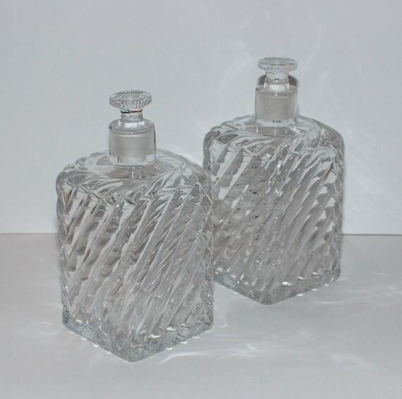 Antique Square Glass Decanters Pair
