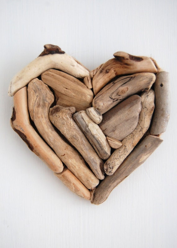 Driftwood Heart Decoration No 2 - Wall Hanging made from reclaimed driftwood from the England Coast