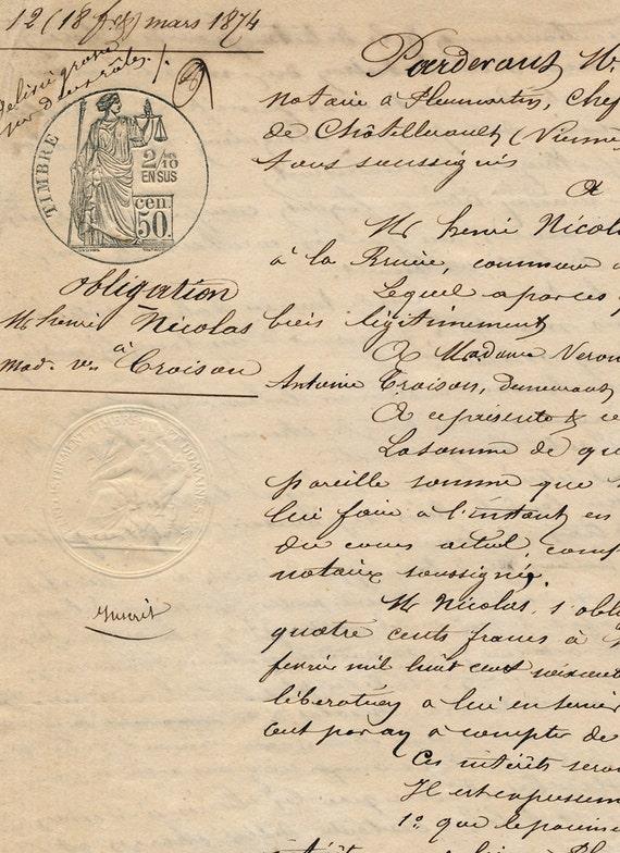 Antique French Sepia Script Document 71