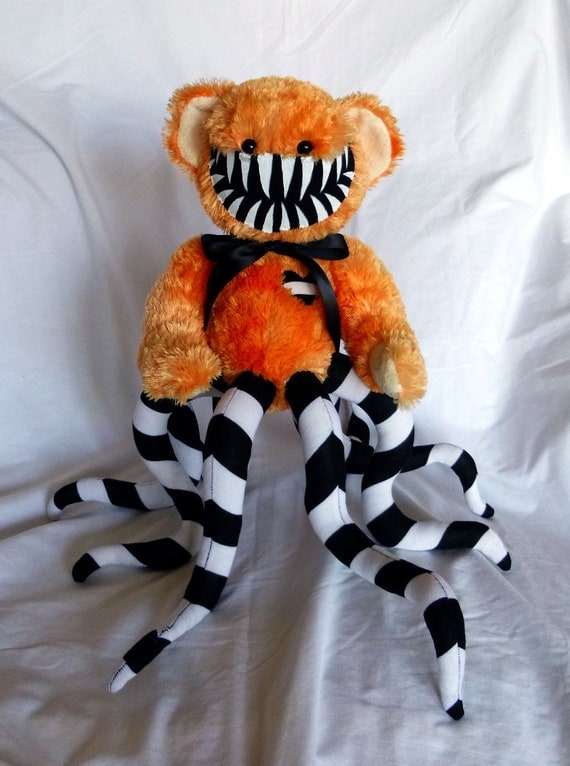 Halloween Teddy Bear monster- Pumpkin Orange with Black and White Striped Tentacles