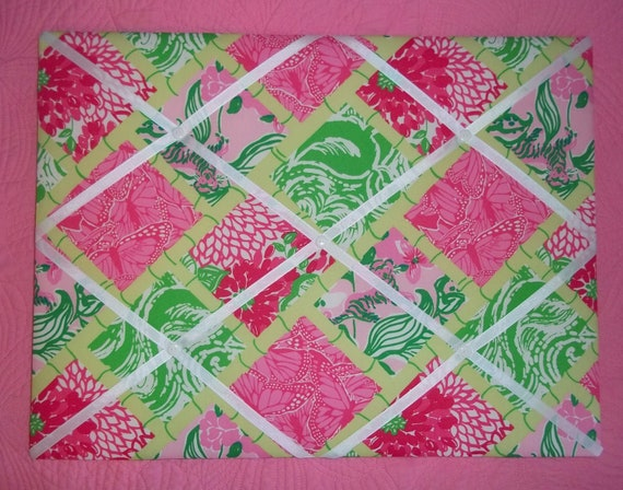 New memo board made with Lilly Pulitzer Multi Bam Patch fabric