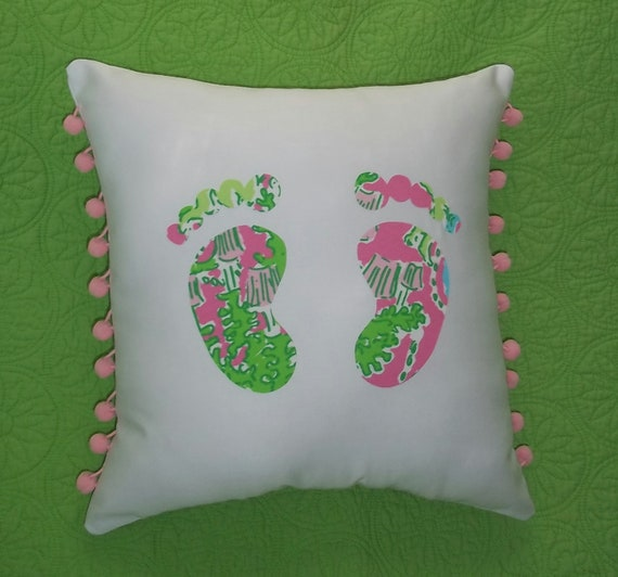 New Footprints pillow made with Lilly Pulitzer Your choice of over 65 different fabrics to choose from