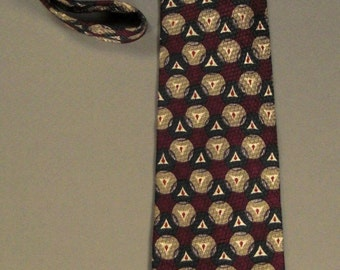 Designer DONBERRY & KEATS  Neck TIE Silk Tweel  Circles Triangles Red and Green 1980s 58 in long 4 in wise