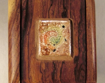 Handcrafted  Hinged  Box Miniature  Exotic woods ceramic tile Intricate work 2.5 x 2.5 x 1