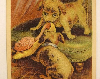 Victorian 1890s TRADE Card UTICA N Y Reynolds Brothers Shoes  Chromolithograph Dogs
