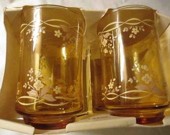 New Set of 4 Libbey Juice Glasses -  Pale Pink Floral Pattern