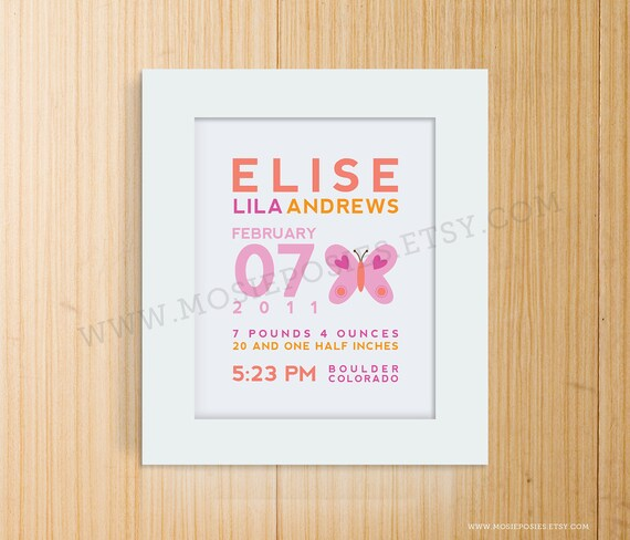 Custom Birth Announcement Print - BUTTERFLY Wall Art