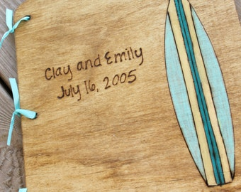 Custom Wedding Guest Book - Surfboard