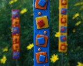 Outdoor Decor Garden Art - Blue Yellow Red Orange Fused Glass Stake