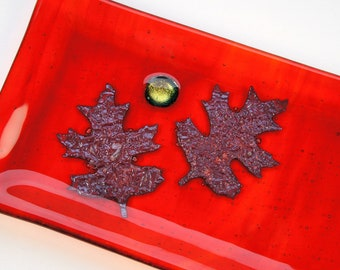 Red Orange Plate Set with Copper Oak Leaves and Gold Accents,  Fused Glass Plates, Home Decor, Decorative Plates, Sushi Set
