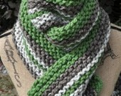 Green Brown Scarf - Chunky Knit Scarf - Striped - Grass Green - Cocoa Brown - Oatmeal Multicolor Extra Long Vertical Stripe Neckwarmer