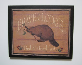 Beaver Lodge Plaque rustic wildlife cabin wall decor country style sign NEW