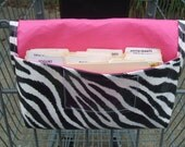 Waterproof Coupon or Purse Organizer Zebra Fabric with Pink Lining