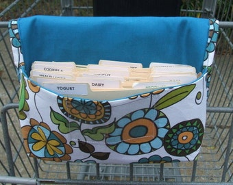 Coupon Organizer Holder, Ready to Ship,  Purse Organizer Posies with Teal Blue Lining