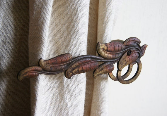 Antique Curtain Tie Back Set with Polychrome Autumn Leaves