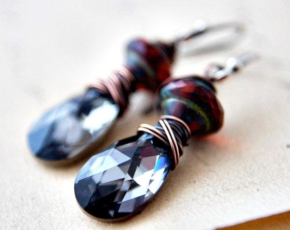 Pewter Night Earrings Czech Glass Swarovski Crystal Gunmetal Grey Platinum Copper Rustic Dangles