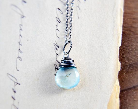Aquamarine Necklace Gemstone Jewelry Silver