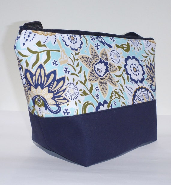 Insulated Lunch Bag Tote  Eco Friendly Zip Summer Blue Lunch Bag by BonTons