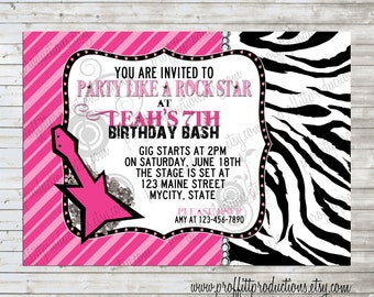 Party like a Rockstar Birthday Party Invitation for an adult or child - digital file