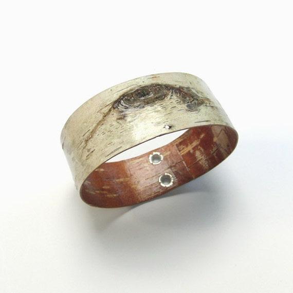White birch bark bangle bracelet, Branchmark