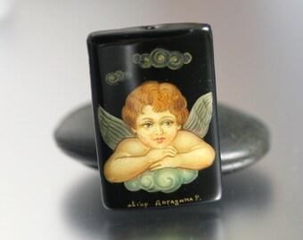 Angel Wings Pendant - Hand Painted - Angel Pendant - Angel / Cupid Bead