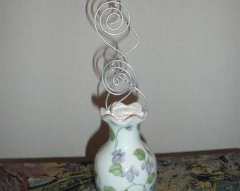 Beautiful Ceramic Floral Vase Wire Picture Holder, Message Holder, Photo Holder Card Holder, Memo Holder, Recipe Holder Display