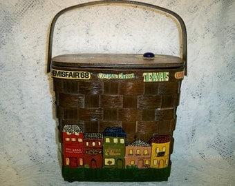 SALE! Vintage 1960s Basket Box Purse Lined Decoupage Texas Town