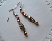 Sale/Check Coupon Code - VALENTINE DANGLE EARRINGS, Gold/Silver/Red Crystal